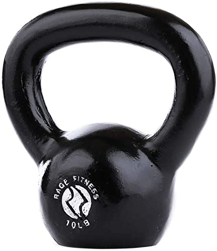 Rage Fitness Cast Iron Kettlebell, Black, Great for Cross Training, develops Strength, Power, Endurance and Dynamic Flexibility