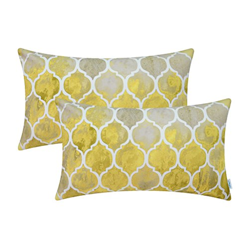 CaliTime Pack of 2 Cozy Bolster Pillow Cases Covers Couch Bed Sofa Manual Hand Painted Colorful Geometric Trellis Chain Print 12 X 20 Inches Main Grey Yellow Gold
