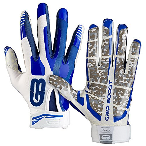 Grip Boost Stealth Super Sticky Football Gloves Pro Elite, Youth & Adult Men Sizes (Blue/White, Small) ()