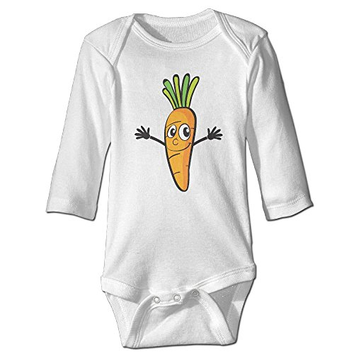 Tongbu Vegetables Cartoon Baby's Bodysuit Climb Clothes Boy & Girl Soft Cotton Long Sleeve Romper Jumpsuit 24 MonthsWhite