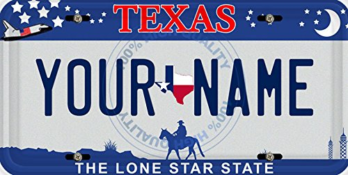 BleuReign(TM) Personalized Custom Name Texas State Car Vehicle License Plate Auto Tag (ALL STATES AVAILABLE) ()