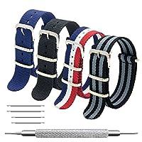 Correa CIVO OTAN 4 paquetes - 20 mm 22 mm Bandas de reloj de nylon balístico premium Estilo Zulu con hebilla de acero inoxidable (Negro + Negro Gris + Azul marino + Rojo Blanco Azul marino, 22 mm)
