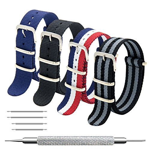 Nato Strap 4 Packs - 20mm 22mm Premium Ballistic Nylon Watch Bands Zulu Style with Stainless Steel Buckle (Black+Black Grey+ Navy Blue+ Red White Navy, 20mm) (20 Mm Watch Band Nato)