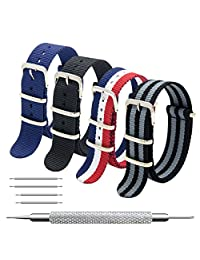 Nato Strap 4 Packs 18mm 20mm 22mm Premium Ballistic Nylon Watch Bands Zulu Style with Stainless Steel Buckle (20mm, Black+Black Grey+ Navy Blue+ Red White Navy)