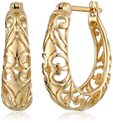 (18k Yellow Gold Plated Sterling Silver Filigree Round Hoop Earrings)