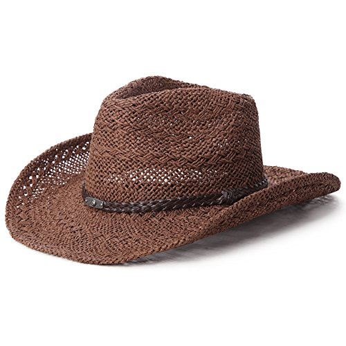 Siggi Western Style Round Up Cowboy Straw Hat OSFM w/ Chin Cord Shapeable Brim Tea Coffee
