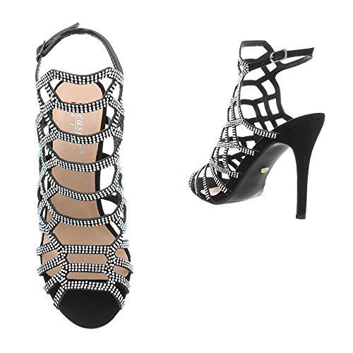 Stiletto 10 Ital Zj Heeled Design Sandals Black at Sandals Women's qzztwTZ4