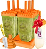Popsicle Molds Set - BPA Free - 6 Ice Pop Makers + 1 Extra Mold + Silicone Funnel + Cleaning Brush + Recipes E-book - by Lebice ...