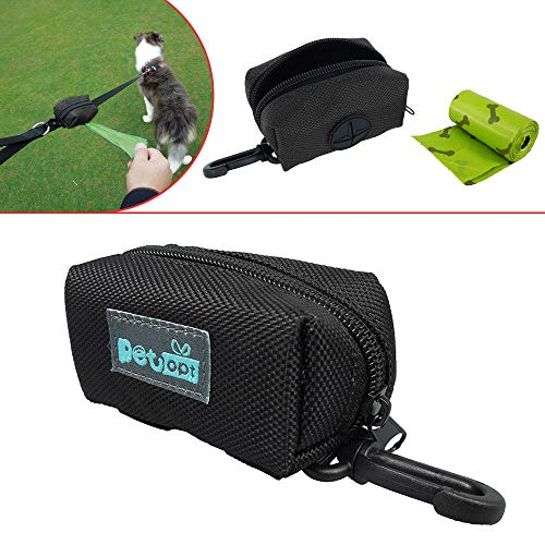 (Petopt Dog Poop Bag Holder Leash Attachment,Heavy Duty Waterproof, Fits Any Dogs Running,Walking,Hiking Accessory (Black))