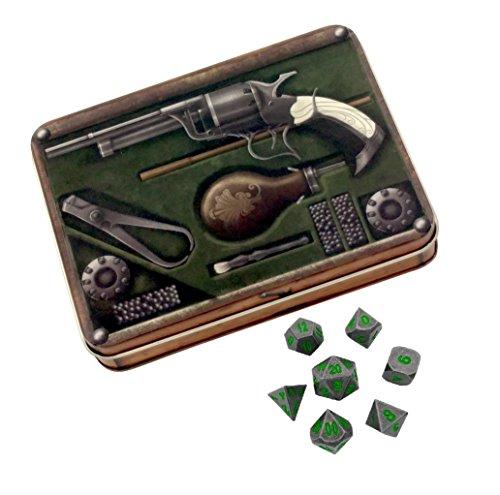 Skull Splitter Dice - Gunslinger's Kit with Rackne's Curse | Gunmetal Gray with Green Numbers Metal Dice - Solid Metal Polyhedral Role Playing Game (RPG) Dice Set (7 Die in - Gunmetal Green