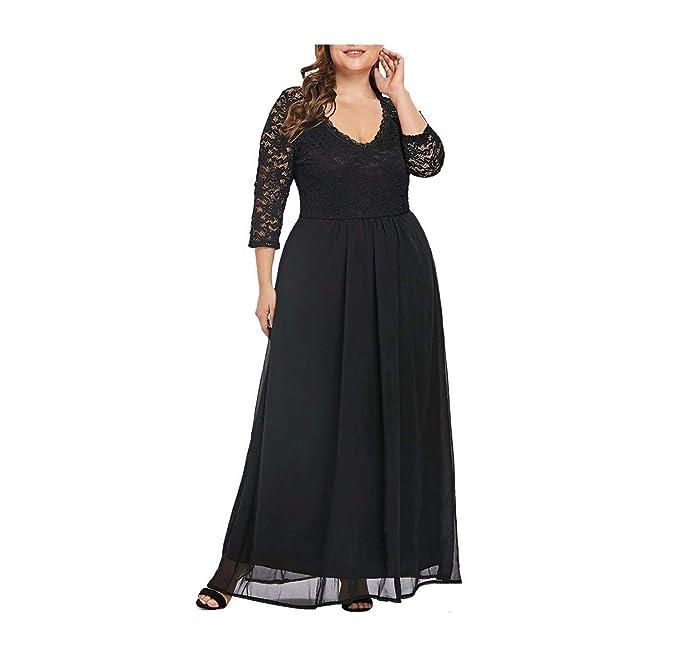 Amazon.com: TANLANG Women\'s Comfortable Dress Solid Color V ...