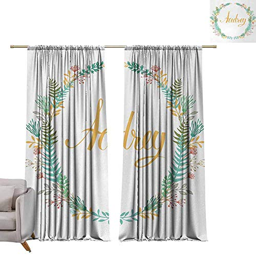 berrly Blackout Window Curtain Panel Audrey,Retro Style Arrangement with Flourishing Nature Flowers and Leaves Signature Pattern,Multicolor W96 x L108 Tie Up Shades Rod Blackout Curtains