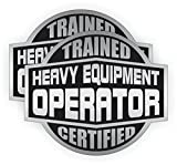 2x HEAVY EQUIPMENT OPERATOR Trained Certified Hard Hat Stickers | Motorcycle Helmet Decals Labels Crane Bulldozer Excavator Steam Roller