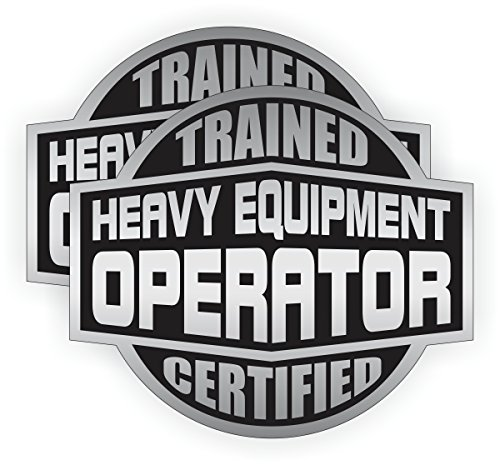 2x HEAVY EQUIPMENT OPERATOR Trained Certified Hard Hat Stickers | Motorcycle Helmet Decals Labels Crane Bulldozer Excavator Steam Roller
