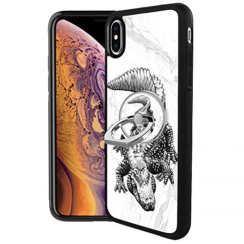 - Crocodile Design iPhone Xs Max Case with Ring Holder Stand 360 Rotation 180 Flip Flexible TPU+PC Anti-Skid Protection Phone Case+Multi Function Phone Ring Stand for iPhone Xs Max