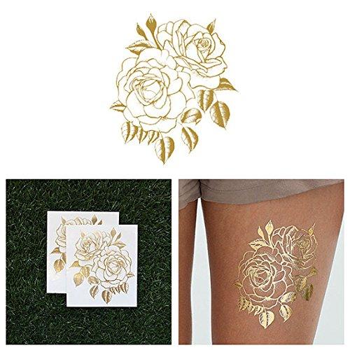 Tattify Metallic Gold Rose Temporary Tattoo - Twin Rose (Set of 2) Long Lasting, Waterproof, Fashionable Fake Tattoos