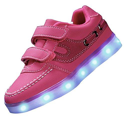 (Present:kleines Handtuch)JUNGLEST® 7 Farben Unisex Kids Wiederaufladbare LED Licht Up Sportschuhe USB Charge Lu Rosa