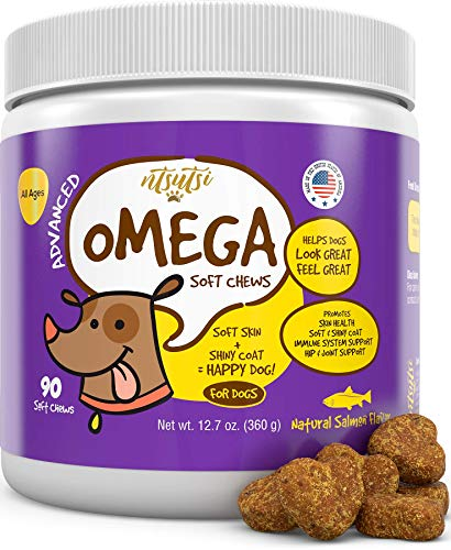 ntsutsi Fish Oil Soft Chews for Dogs - Natural Omega 3, 6 & 9 for EPA & DHA Fatty Acids - Pet Supplement for a Healthy Coat, Joint & Immune System Support, Itching or Dry Skin Relief - 90 pcs