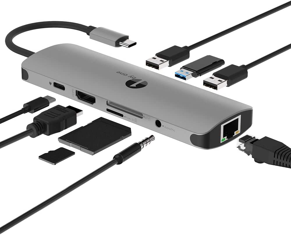1byone USB C Hub , USB C Adapter 9 in 1 with USB-C Charging, Port of Mic/Audio,3 USB 3.0 Ports, HDMI, SD, Micro SD Compatible for MacBook Pro, Surface Pro,Notebook PC, USB Flash Drives and More