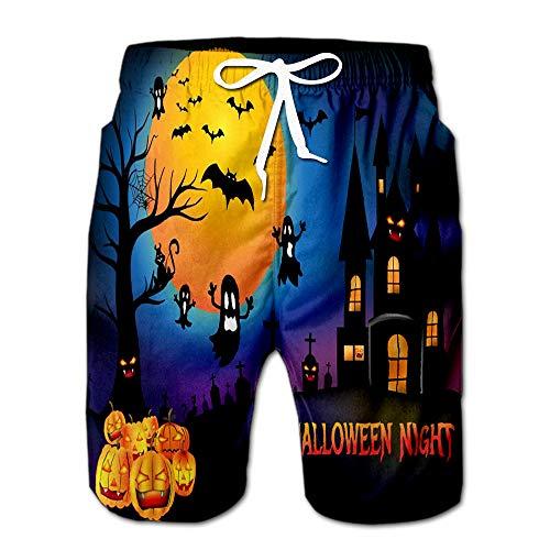 Summer Shorts Pants Halloween Pumpkins and Creepy Castle