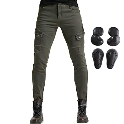 Men Women Motorcycle Riding Jeans Protective Pants Knight Hockey Biker Armor Pants (XXL=36, Army Green): Automotive