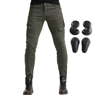 Men Women Motorcycle Riding Jeans Protective Pants Knight Hockey Biker Armor Pants (XXL=36, Army Green): Automotive
