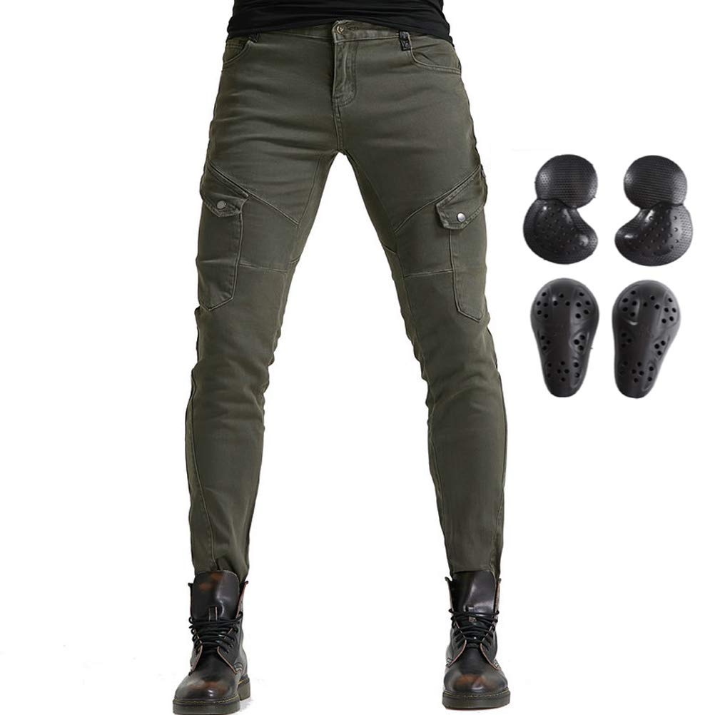 Men Women Motorcycle Riding Jeans Protective Pants Knight Hockey Biker Armor Pants (M=30, Army Green) by Takuey