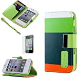 ATC Masione(TM) Apple iPhone 4/4S Credit Card Hard Shell Case Stand with Silicone Core + Screen Protector & Stylus (Wallet case Green+Navy Green+Orange)
