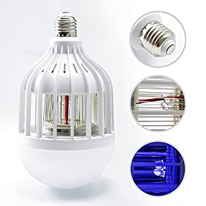 2 IN 1 Mosquito Zapper LED Light Bulb,Mosquito Repellent,Bug Killer Lamp Trap and Zap Fly Insects for Indoor Outdoor Porch Backyard Patio,UV Lamp Trap 3500V Electric Grid Zap , 15W E27 Cool White Bulb