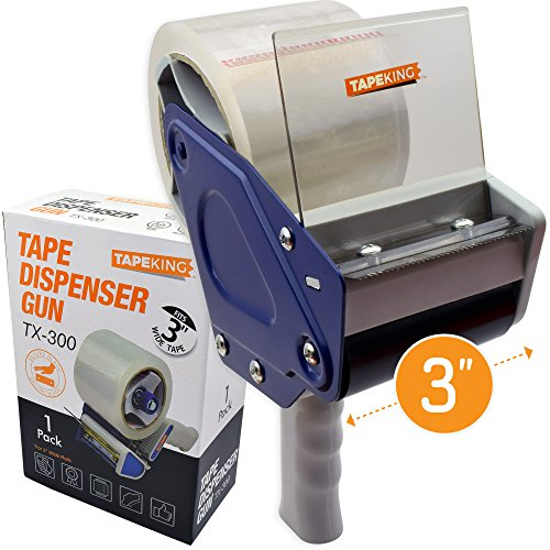Tape King TX300 3 inch Wide Packing Tape Dispenser Gun - Plus 1 Free Roll of Packaging Tape - Side Loading 3 Lightweight Ergonomic Industrial Gun for Shipping, Moving, Carton and Box Sealing