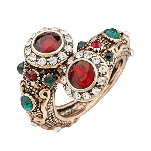 UltraSunday Turkish Red Rings Antique Gold Color Women's Jewelry Double Head Red Gem Stone F (7)