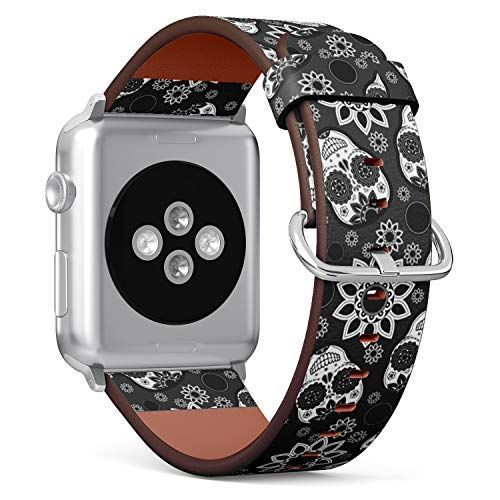 Compatible with Big Apple Watch 42mm & 44mm Leather Watch Wrist Band Strap Bracelet with Stainless Steel Clasp and Adapters (Sugar Skull)