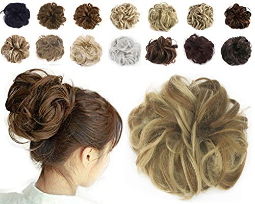 Haironline Scrunchie Bun Up Do Hair Piece Hair Ribbon Ponytail Extensions Wavy Curly Bleach ()