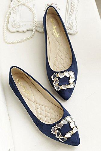 Qzunique Femmes Bout Pointu Pu Cuir Ballet Glisser Sur Bateau Strass Chaussures Plates Bleu