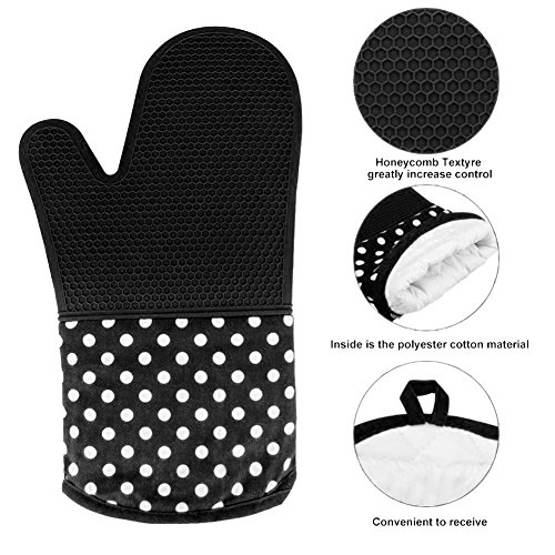 Ytzada Silicone Oven Mitts Set of 2, Extra Long Professional Non-Slip Microwave Gloves Heat Resistant Potholders to 572°F Cotton Lining for Grilling, Baking, Cooking, BBQ Black by Ytzada
