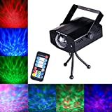 DuaFire 7 Colors LED Laser Light Projector, Voice-activated Stage Strobe Light with Remote Control, Energy-Saving Water Ripples Lights for Party, KTV, Disco, Home Club, Bar, Wedding