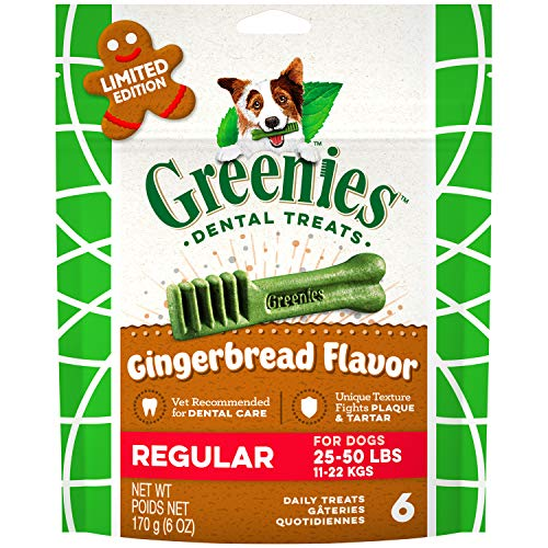 Greenies Gingerbread Flavor Regular Size Dental Dog Treats, 6 oz. Pack (6 Count), Great Holiday Dog Stocking Stuffers