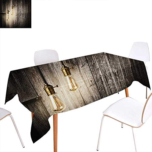 familytaste Industrial Washable Tablecloth Historical Innovation Edison Revival Retro Electricity Wooden Planks Waterproof Tablecloths 70