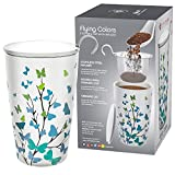 Teabloom BLOOMI Double Wall Insulated Ceramic Brewing Cup with Infuser Basket and Lid for Steeping – Loose Leaf Tea Maker – Intelligent & Beautiful Infuser Mug Design – Flying Colors