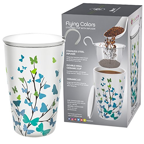 Teabloom BLOOMI Double Wall Insulated Ceramic Brewing Cup with Infuser Basket and Lid for Steeping – Loose Leaf Tea Maker – Intelligent & Beautiful Infuser Mug Design – Flying Colors by Teabloom