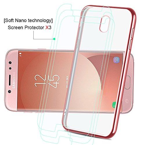 Funda Samsung Galaxy J7 2017, achoTREE Enchapado Ultra Hybrid, Transparente Ultra Fina Suave TPU Silicona Carcasa Case para Samsung J7 2017 + [1 × suaveNano-tecnologíapelículaprotectora] Oro Rosa 5 Oro Rosa+Oro+Plata