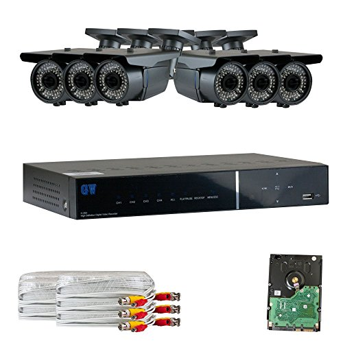 GW Security 8 Channel HD-AHD DVR Security System, QR-Code Connection, 6 Day Night 1080P @30fps High Resolution Weatherproof 2.8~12mm Varifocal Cameras CCTV Surveillance System 1TB HDD