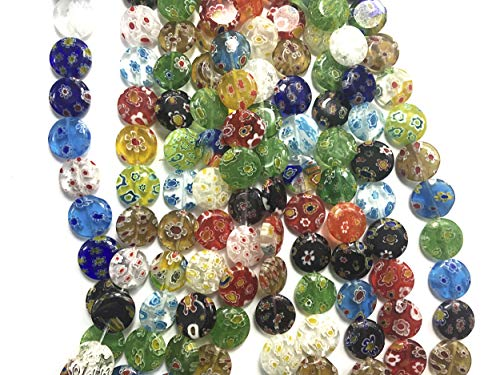 ALL in ONE Millefiori Lampwork Glass Beads for Jewelry Making DIY (12mm Flat Round) (Making Lampwork Glass Beads)