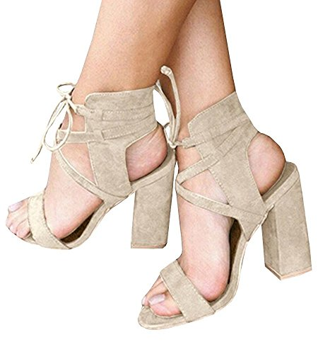 Minetom Womens Spring Summer Chunky Heel Sandals Peep Toe Shoes Lace up Party Beach Sandals Beige 6 B (M) US -