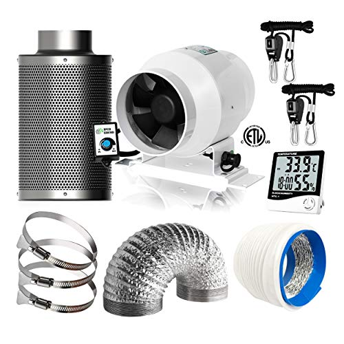 IOBIONICS Grow Tent Complete Ventilation Kit: 4in Variable Speed inline EC Fan, 4in RC48 Activated Carbon Filter, Digital Timer Hygrometer, Heavy Duty Rope Ratchet, 4