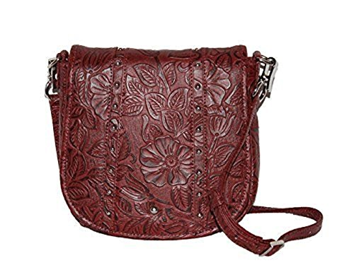 GTM-16 Simple Bling in Tooled Leather Black Cherry Concealment Purse by Gun Tote'n Mamas