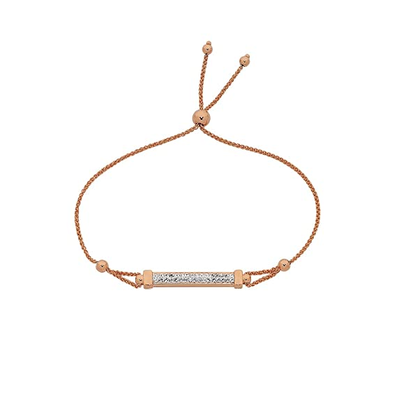 Bevilles 9ct Rose Gold Silver Infused Crystal Bar Adjustable Bracelet Wheat