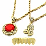 4 piece gold grill - Mens Gold Plated High Fashion Bottom Grillz w/ 2 Pieces Ruby & Prayer Hands Set 4mm 30