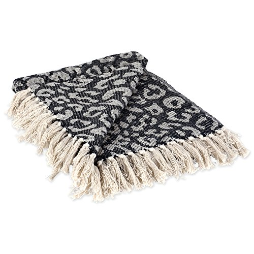 DII CAMZ38918 Modern Cotton Luxury Leopard Print Blanket Throw with Fringe for Chair, Couch, Picnic, Camping, Beach, Everyday, 50 x 60, Black (Leopard Chair)