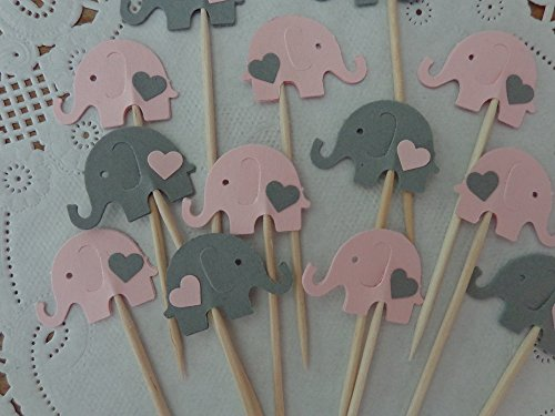 Light Pink and Grey Elephant Cupcake Toppers - Elephant and Hearts Food Picks - Pink and Gray Elephants - Baby Girl Shower Appetizer Picks (Set of 24)